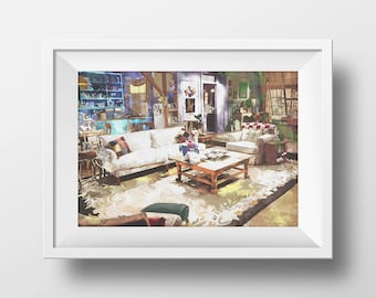 Art Print Monica's Apartment,FRIENDS tv show,printable ,friends theme,monica,chandler,ross,phoebe,rachel,joey,friends couch,friends poster