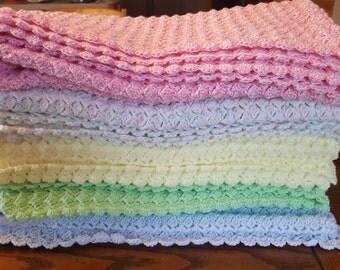 Baby Blanket Crochet Slanted Shell Afghan