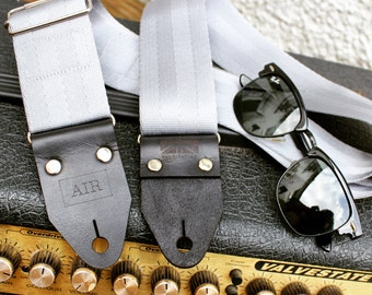 """The """"Silver Onyx"""" Guitar Strap - Thick Leather Ends, Personalisation, Custom Engraving & Logo Options"""