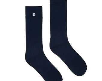 Elegant bamboo dark blue shiny socks