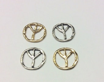 Wholesale Peace Sign Charm Pendant Peace Charm Sterling Silver or Gold Plated Over Sterling Silver By 3 Piece