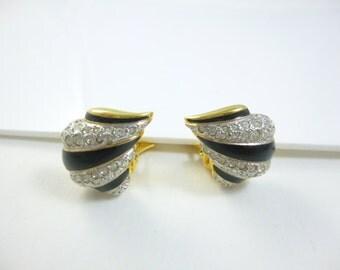 Crystal Clip on Earrings, Small Clip on Earrings, Black Clip on Earrings,Black and Crystal Clip Earrings, Enamel Earrings, Vintage