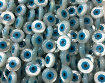 5pcs Mother Of Pearl Evil Eye  Beads ,10mm Evil Eye Beads For Jewelry Making