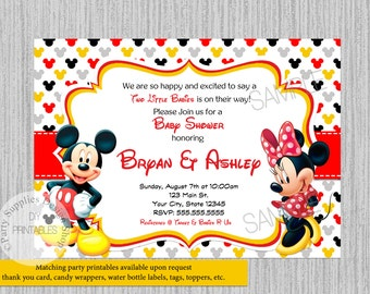 Printed Or Digital Red Minnie Mouse Baby Shower Invitations