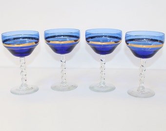 Rare Antique Murano Glasses with Gold