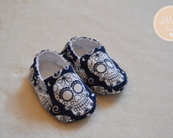 Navy Sugar Skull Baby Slippers