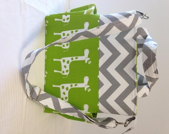 Diaper Bag, Green Giraffes, large Tote, Chevron Grey. Nappy bag,