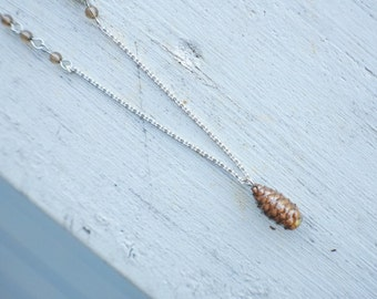 Real Pinecone Silver Necklace