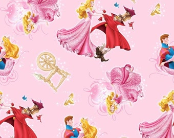 "Disney Fabric - Disney Princess Fabric - Disney Sleeping Beauty Character Toss Pink 100% cotton 43"" fabric by the yard, SC320"