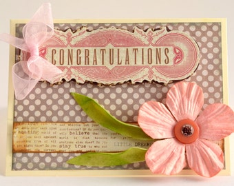 So Pretty in PInk! Handcrafted Congratulations Card - Pinks and Gray With Handmade Flowers: Baby/Girl/Shower/Wedding/Graduation/Housewarming