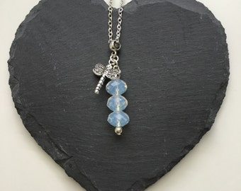 Opalite Necklace with Dragonfly Charm