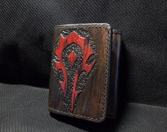 Handmade wallet  (natural leather, stylished by World of Warcraft)