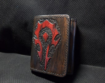 Handmade wallet natural leather stylished by World of Warcraft - Horde