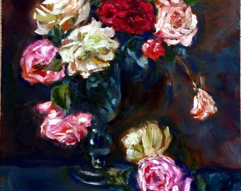 "Original Oil Still life painting, Rose flower in vase, red, pink, white, 60027, 16""x20"""