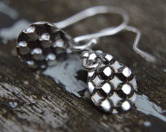 Silver Earrings / Checkerboard / Check / Geometric / Dangly / Drop Earrings (PMC) (UK)