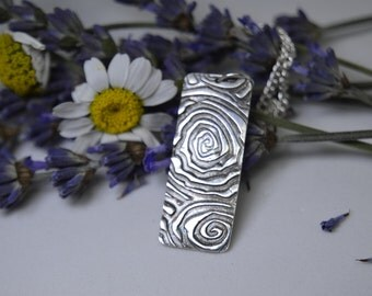 Silver Pendant/necklace, spiral design on a rectangluar tag. (PMC) (UK)