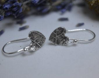Heart Earrings, Silver Heart Earrings, Dangly Earrings, Drop Earrings, Silver heart Dangly Earrings, Leaf Textured Heart, (PMC) (UK)