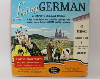German Language Records Course on 33 1/2 RPM  - 4 Long-Plalying High Fidelity Albums ~ Six Week Course ~ Includes Dictionary of Common Words
