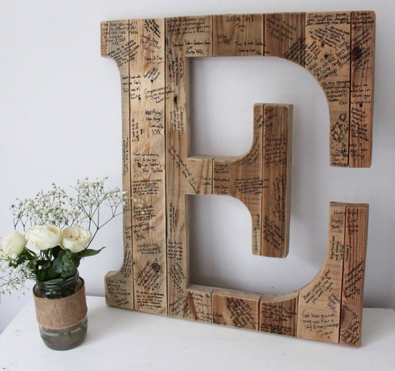 Creative Ideas For Guest Books At Weddings: Wedding Guest Book Initial Letter Wedding Guest Book