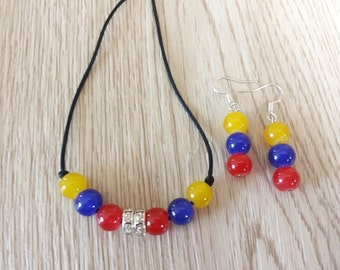 Tricolor Set. Necklaces and earrings. inspired by National Flag of Colombia and Venezuela.