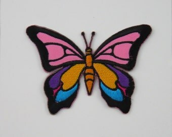 Butterfly Iron On/ Sew On Embroidered Cloth Patch Badge Appliqué hot fix stitch on UK seller Size: 8.8cm x 6.2cm