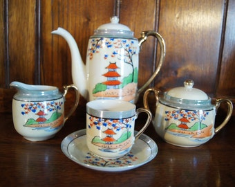 PRICE REDUCED - Vintage Hand-Painted Japanese Tea Set with Six Cups and Saucers, Teapot, Jug and Sugar Bowl.