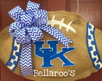Kentucky Wildcats burlap football door hanger custom made burlap door hanger SEC football