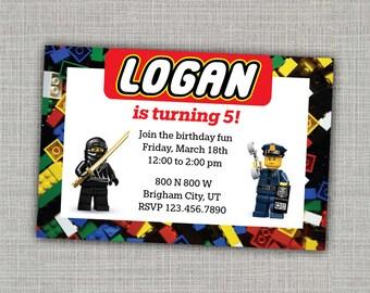Lego Invitation / Lego Party / Lego Birthday Invitation