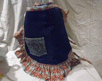 Hand Made Apron- Up cycled Blue Jeans- Red Tone Ruffles- Reused Jeans