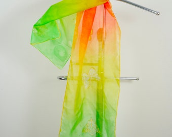Hand painted Long Silk Scarf, rainbow, Gift for her, Birthday Gift.