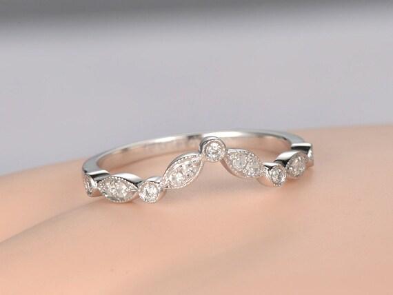 Curved V Milgrain Diamond Wedding Band Solid 14k Rose