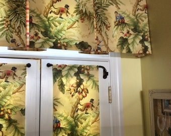 Monkey green, brown, yellow, red and blue home decor fabric for my window treatments, valance, window treatments