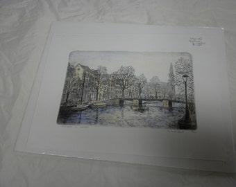 Pair of original European etchings