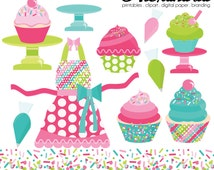 Cupcake Cutie Digital Clipart - Personal & Commercial Use - Sprinkles Clipart, Cupcakes Graphics, Baking Images
