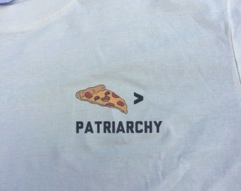 Pizza Over Patriarchy Feminist Crop Top (Organic Fair Trade Shirt)
