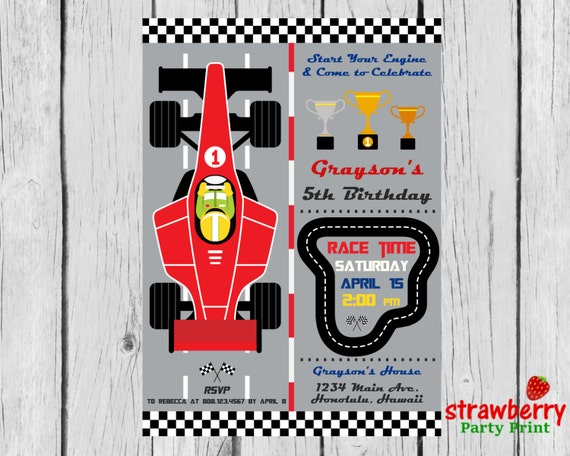 race car birthday invitation racing by strawberrypartyprint