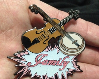 Bluegrass Banjo Family Glittery Glow-in-The-Dark Hatpin Pink or Green ONLY 25 made!