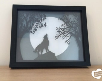 Framed Wolf and Moon Paper Cut-out Art - Colour personalisation