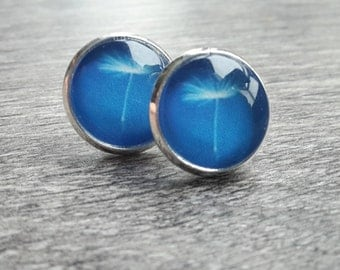 Dandelion earrings blue