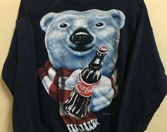Vintage 90's Coca Cola Coke Dark Blue Bear Classic Design Skate Sweat Shirt Sweater Varsity Jacket Size M #A100