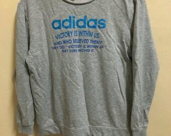 Vintage 90's Adidas Grey Blue Sport Classic Design Skate Sweat Shirt Sweater Varsity Jacket Size M #A152