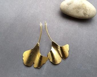 Long Leaf Earrings,Ginkgo Biloba Earrings, Ginkgo Biloba Leaf,Gold Leaf Earrings,Dangle Leaf  Earrings, Nature Jewelry,Gold leaf Jewelry