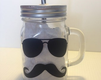Mustache mason jar -  mason jar with handles - mustache mason jars with lid - wedding mason jar - mason jar for police officer