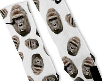 Custom Harambe the Gorilla Nike Elites Socks