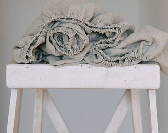 LINEN FITTED SHEET 100% linen Stonewashed Softened