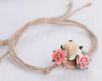 newborn floral headband, photography prop, pink and cream headband colors, baby tieback