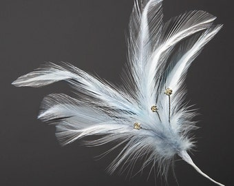 Silver Grey Diamante Feathers - Wired Stem -  3 or 6 Stems - Bouquets, Fascinators, Hats, Cake Decoration