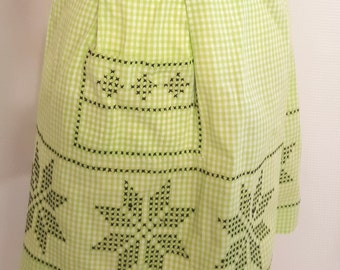 Vintage Green and White Gingham Apron with Cross Stitch Details