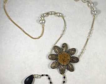 Upcycled Vintage Flower Necklace