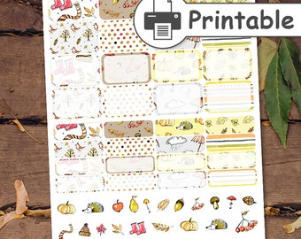 PRINTABLE Fall Half box planner stickers,Autum Stickers,Thanksgiving Planner Stickers,November Planner Stickers